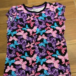 Girls multi color butterfly tee